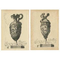 Set of 2 Antique Prints of Decorated Vases, circa 1840
