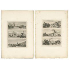 Set of 2 Antique Prints of Flanders and Holland, circa 1820