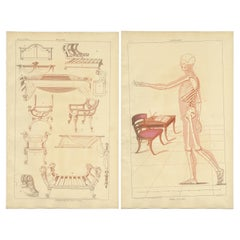 Set of 2 Antique Prints of Furniture Designs by Sheraton '1805'
