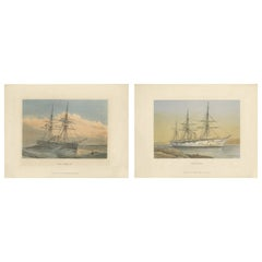 Set of 2 Antique Prints of HMS Ships by Griffin & Co, 1880