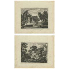 Set of 2 Antique Prints of Landscapes and Village Scenes by Sayer '1775'