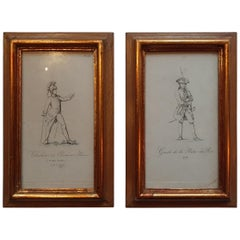 Set of 2 Antique Prints of Military Costumes of France by Sicard, 1834