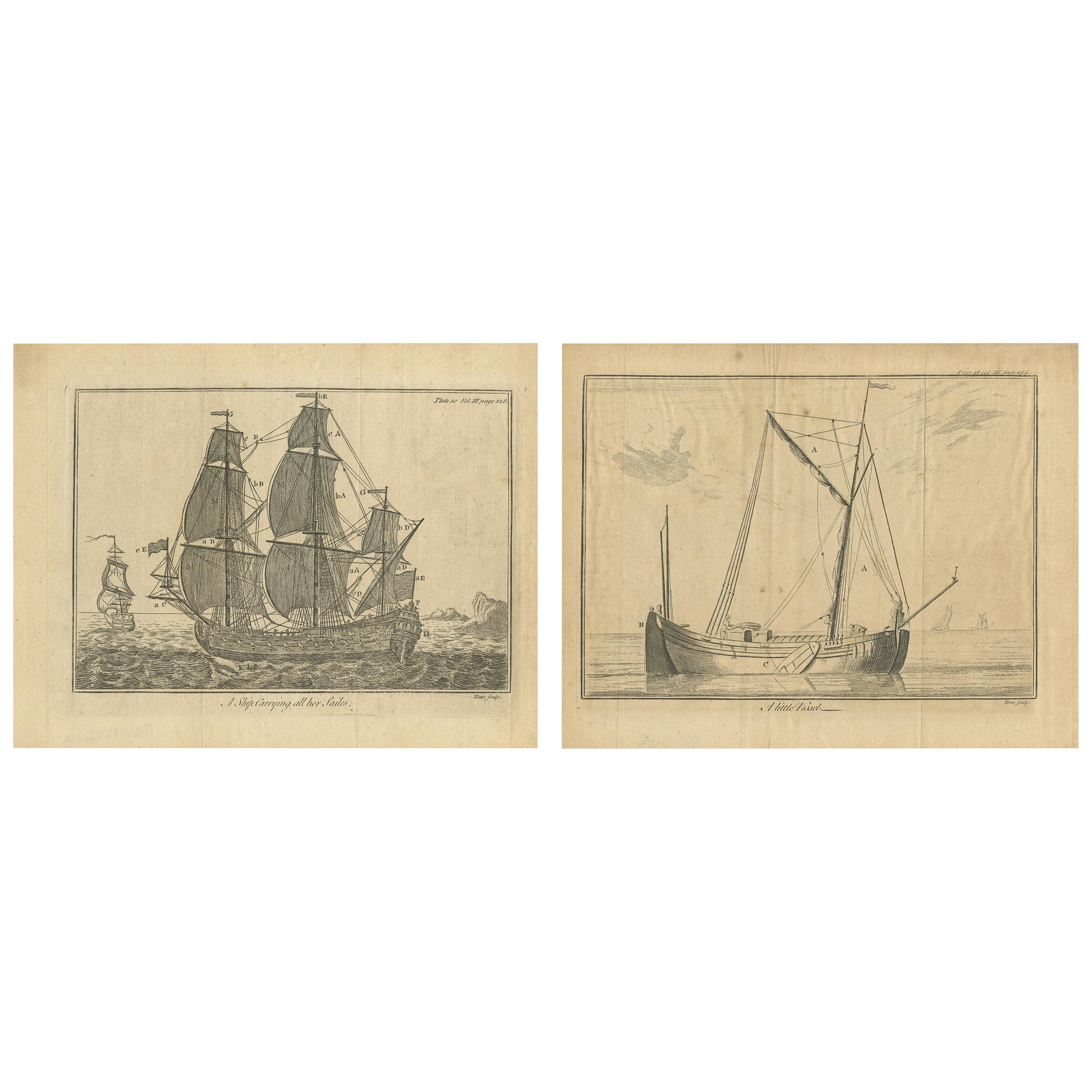 Set of 2 Antique Prints of Ships/Vessels by Pluche, 1750
