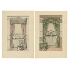 Set of 2 Antique Prints of Window Dressings and Furniture by Beraud, 'c.1890'