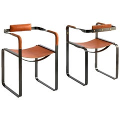 Set of 2 Armchair Black Smoke Steel & Natural Tobacco Leather Contemporary Style
