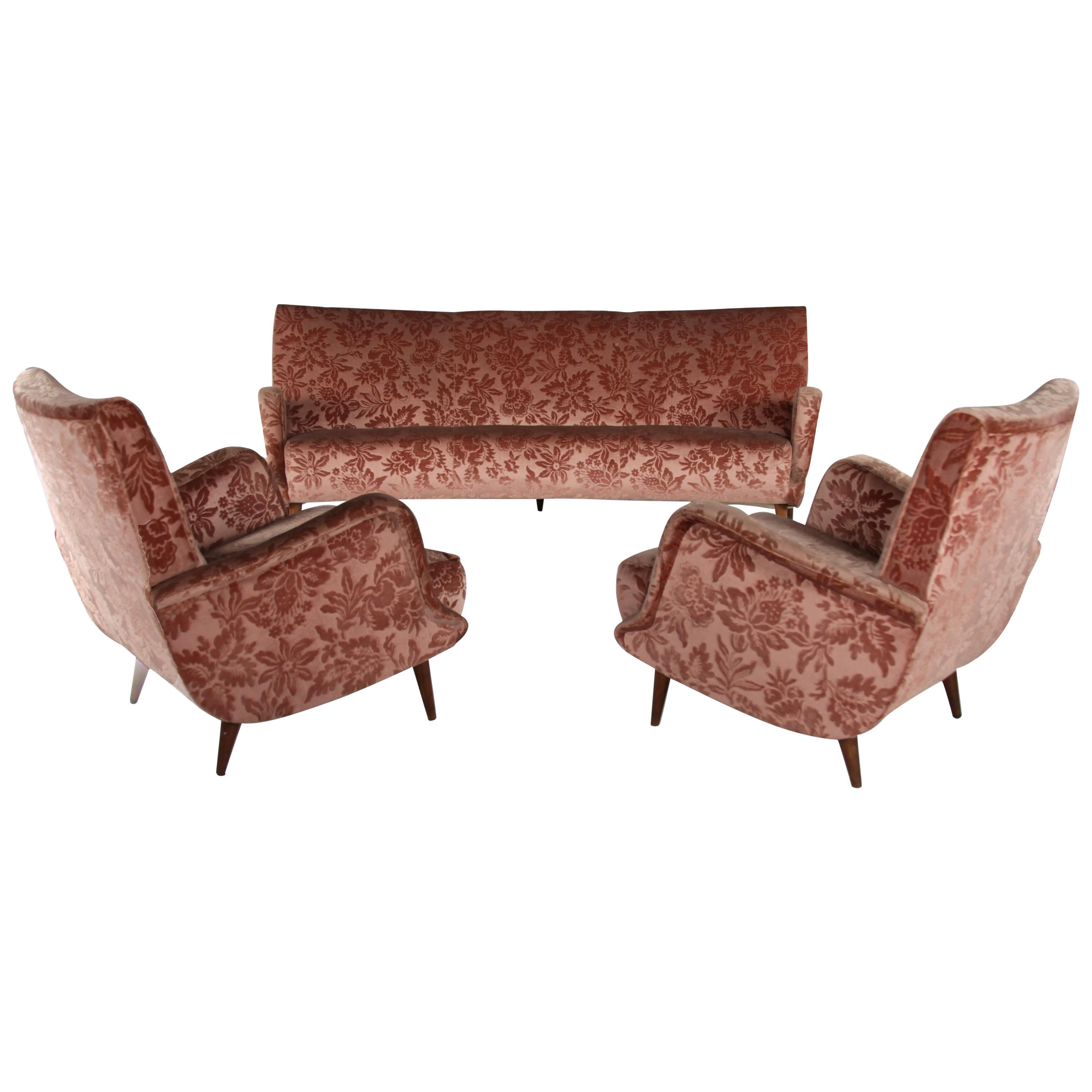 """Set of 2 Armchairs and 1 Sofa from """"806"""" Series, by Carlo de Carli, Cassina"""