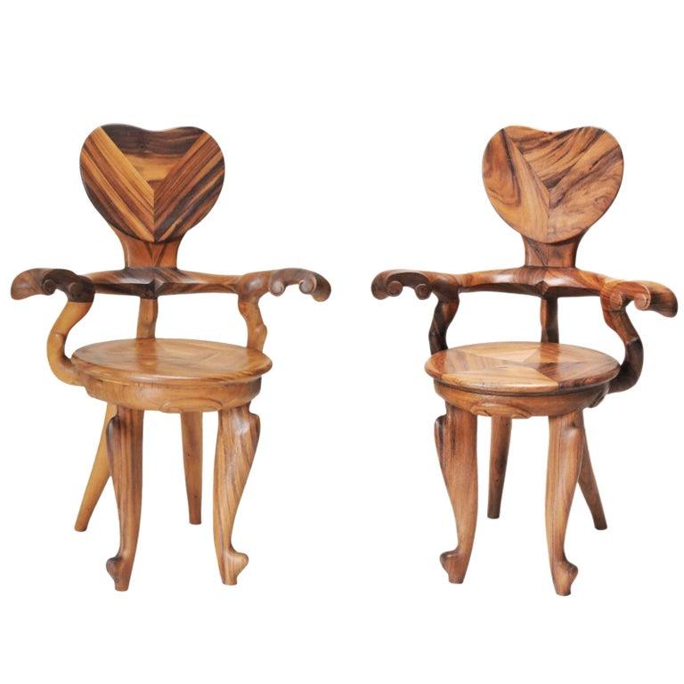 Set of 2 Armchairs Casa Calvet Design by Antoni Gaudi, Suar Wood, Saturday Sale For Sale