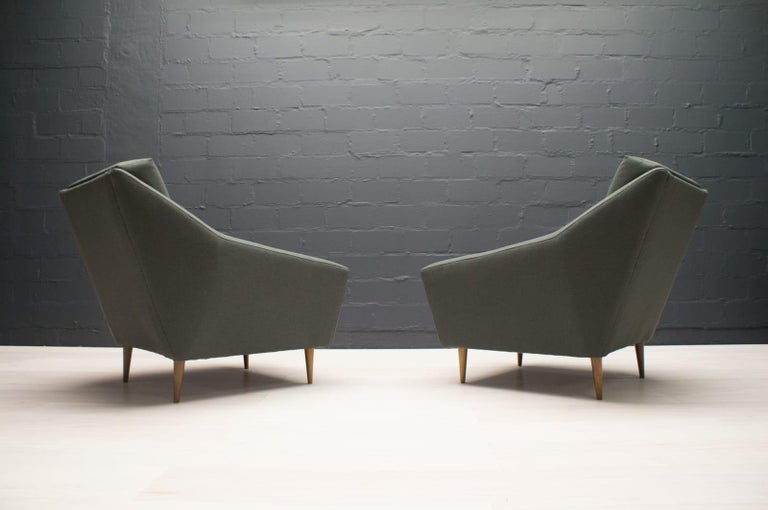 Set of 2 Armchairs in Wood and Fabric by Eddie Harlis for Hans Kaufeld, 1960s For Sale 1