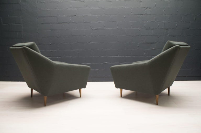 Set of 2 Armchairs in Wood and Fabric by Eddie Harlis for Hans Kaufeld, 1960s For Sale 2