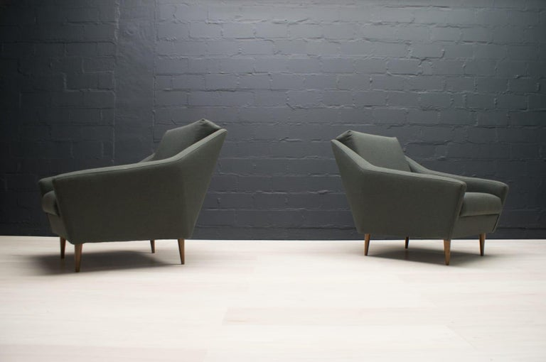 Set of 2 Armchairs in Wood and Fabric by Eddie Harlis for Hans Kaufeld, 1960s For Sale 3