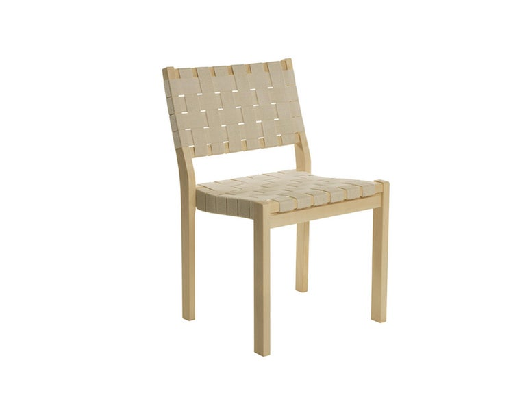 Mid-Century Modern Set of 2 Artek Beige 611 Chairs For Sale