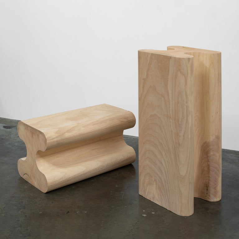 American Set of 2 Ash and Wax Side Tables or Pedestals by Christopher Norman For Sale