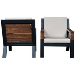 Set of 2 Baltimore Armchairs by Ambrozia, Walnut, Black Steel & Beige Upholstery