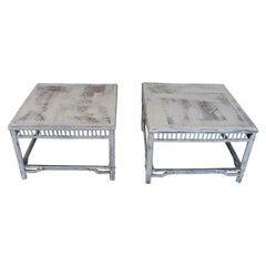 Set of 2 Bamboo Tables, Decorative Tables, Salon, Side Tables, Colonial