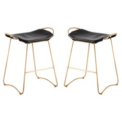 Set of 2 Bar Stool, Aged Brass Steel & Black Saddle Leather, Contemporary Style