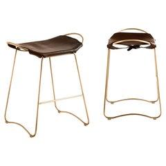Set of 2 Bar Stool, Aged Brass Steel & Dark Brown Leather, Modern Style