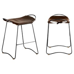 Set of 2 Bar Stool, Black Smoke Steel and Dark Brown Leather, Contemporary Style
