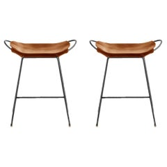 Set of 2 Bar Stool, Black Smoke Steel and Natural Tobacco Leather, Modern Style