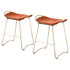 Set of 2 Barstool Brass Steel & Tobacco Leather Contemporary Style