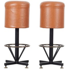 Set of 2 Barstools with Brown Leatherette Cover, Italy, 1960s