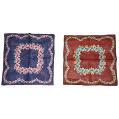 """Set of 2"" Beautifully Embroidered Micro ""R"" Floral Cotton Handkerchiefs"