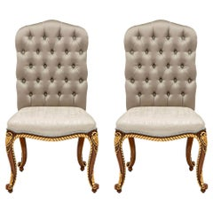 Set of 2 Beige Capitonne Chairs