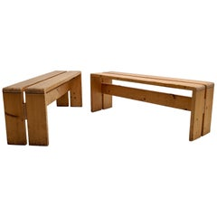 Set of 2 Benches by Charlotte Perriand for Les Arcs