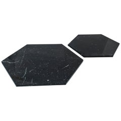 Set of 2 Big Hexagonal Black Marble Plates / Serving Dishes