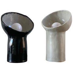 Set of 2 Black and White Cyclope Lamps