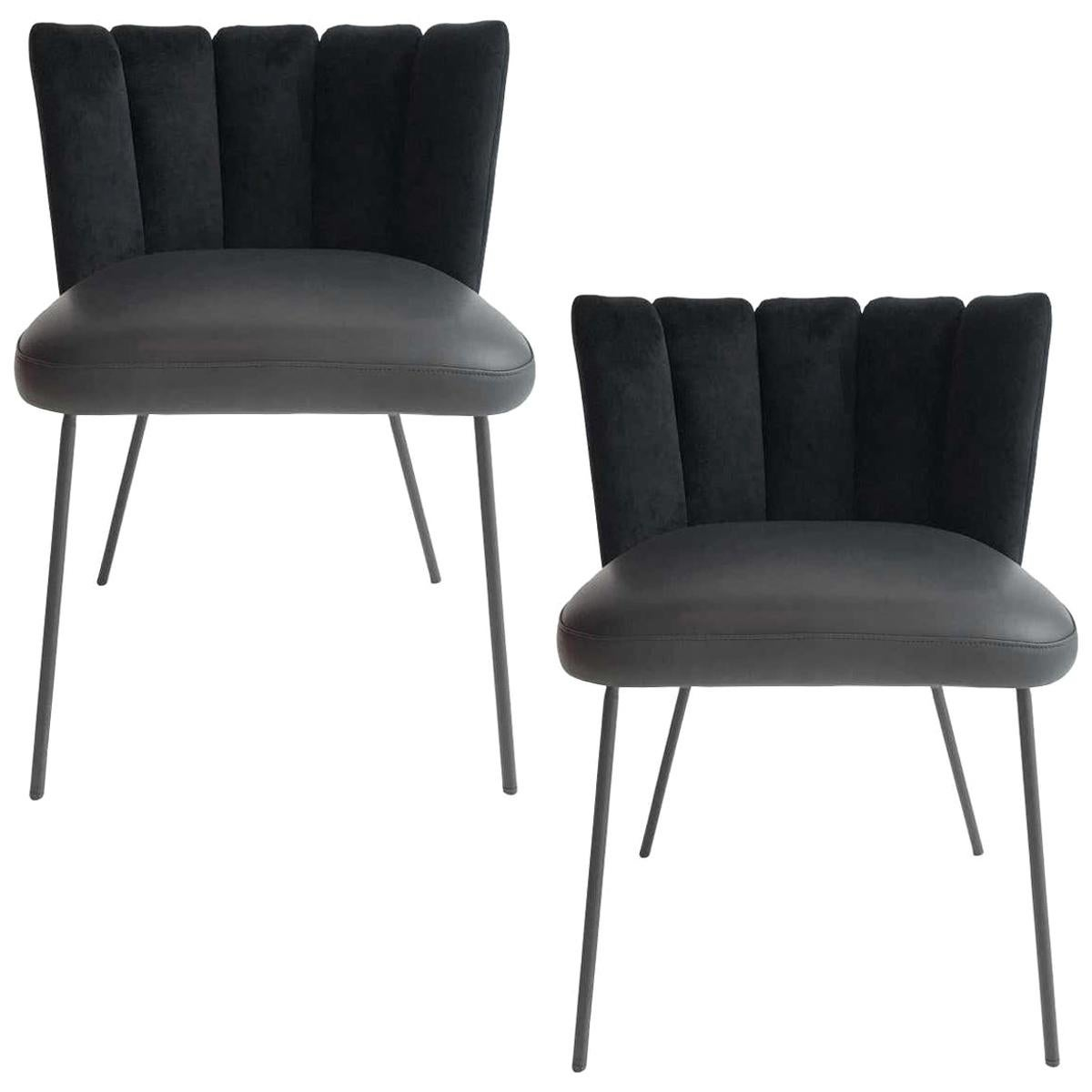 In Stock in Los Angeles, Set of 2 Black Gaia Velvet Dining Chairs