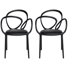 Set of 2 Black Loop Padded Armchair, Made in Italy