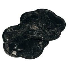 Set of 2 Black Marble Ariadne Coasters by Faye Tsakalides