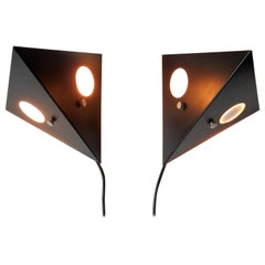 Set of 2 Black Metal 'Night Owl' Wall Lamps for RAAK, the Netherlands, 1960s