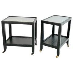 Set of 2 Black Sprayed Snakeskin Karl Springer Small Side Table