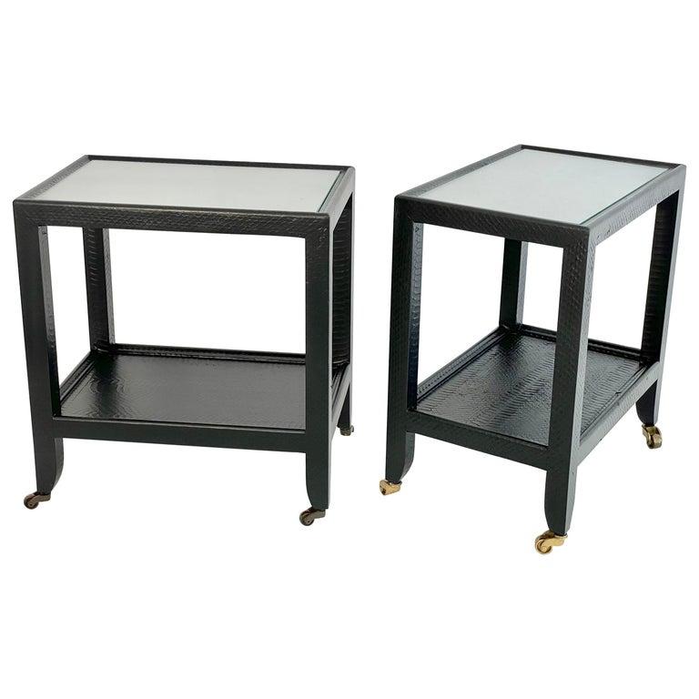 Set of 2 Black Sprayed Snakeskin Karl Springer Small Side Table For Sale