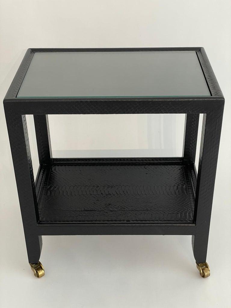 Set of 2 Black Sprayed Snakeskin Karl Springer Small Side Table For Sale 3