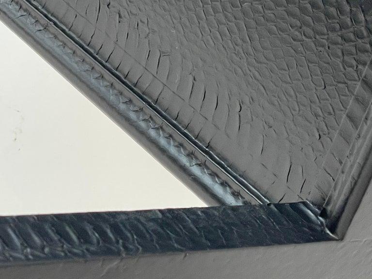 Set of 2 Black Sprayed Snakeskin Karl Springer Small Side Table For Sale 4