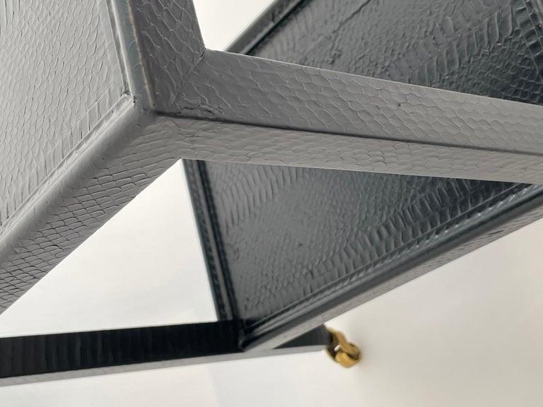 Set of 2 Black Sprayed Snakeskin Karl Springer Small Side Table For Sale 5