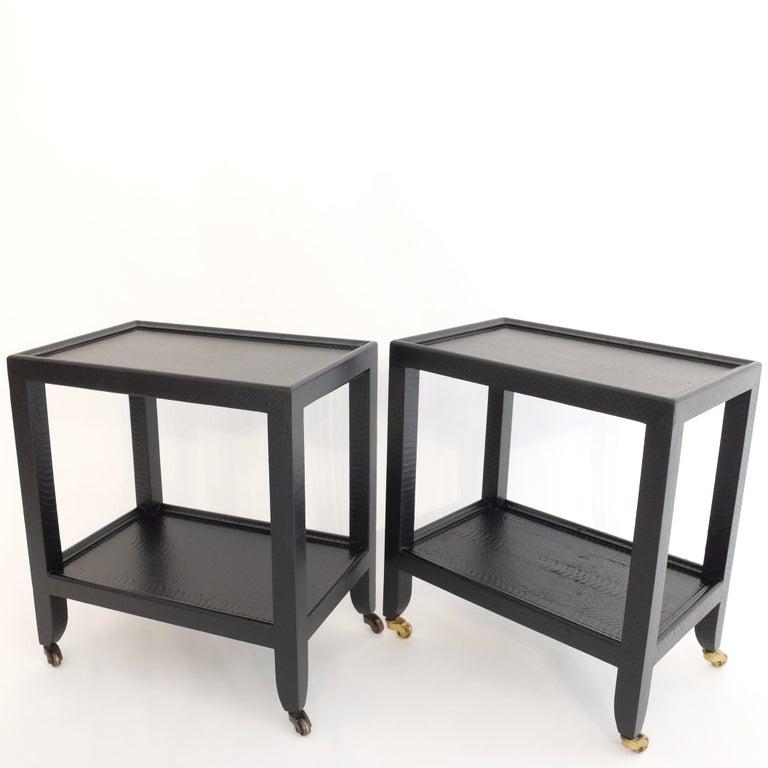 Set of 2 Black Sprayed Snakeskin Karl Springer Small Side Table For Sale 6