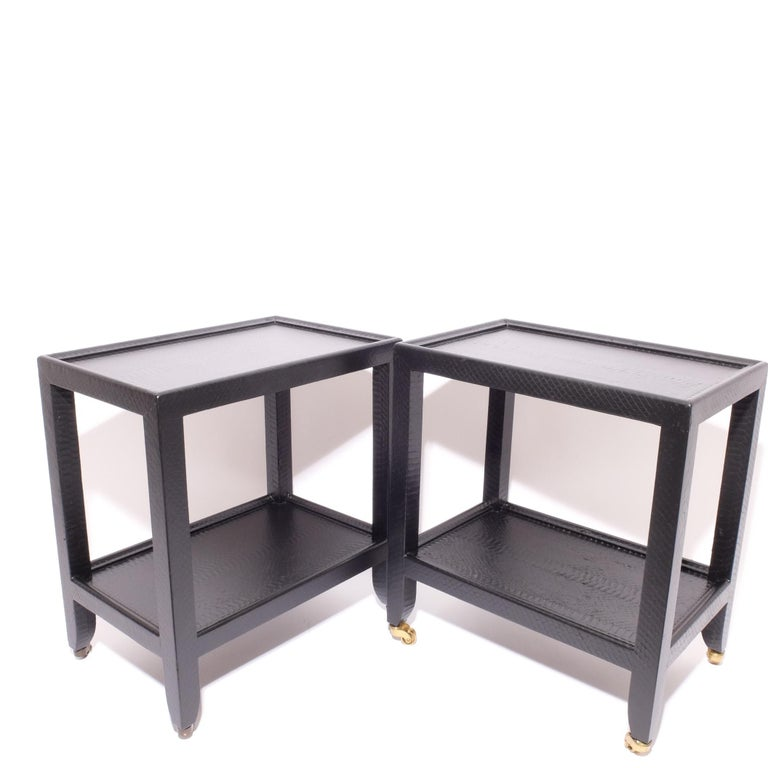 Set of 2 Black Sprayed Snakeskin Karl Springer Small Side Table For Sale 7