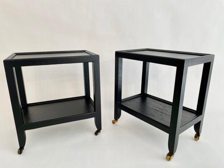 Pair of black snakeskin signed Karl Springer small side table. Resprayed!