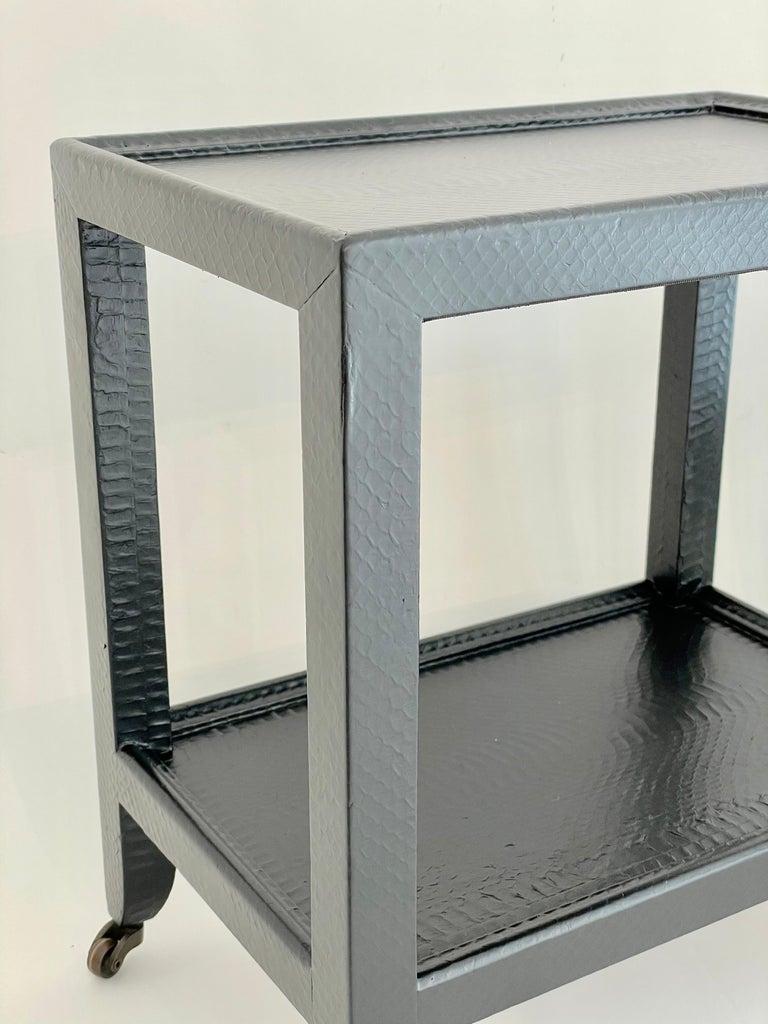 Painted Set of 2 Black Sprayed Snakeskin Karl Springer Small Side Table For Sale