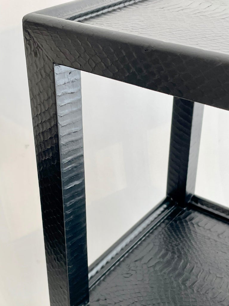Set of 2 Black Sprayed Snakeskin Karl Springer Small Side Table In Distressed Condition For Sale In London, GB