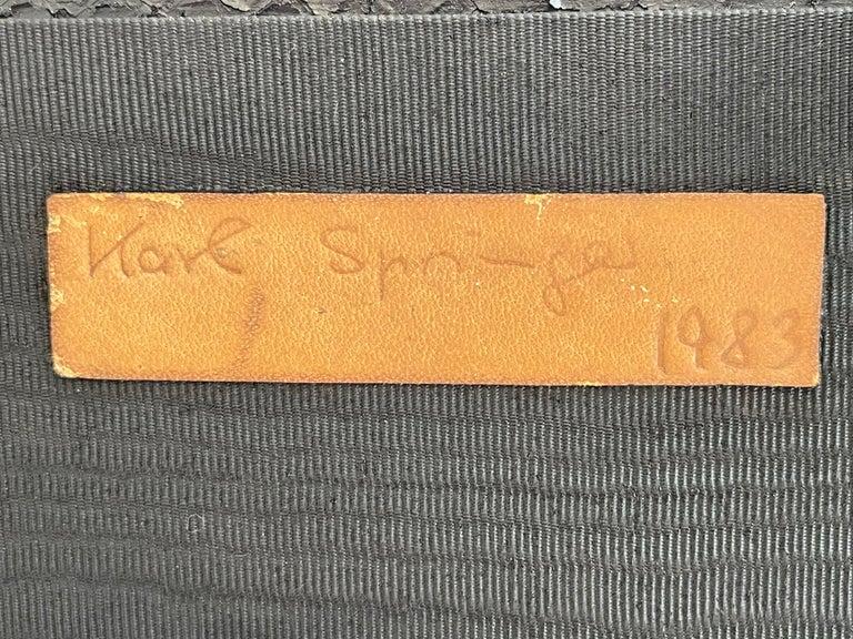 Late 20th Century Set of 2 Black Sprayed Snakeskin Karl Springer Small Side Table For Sale