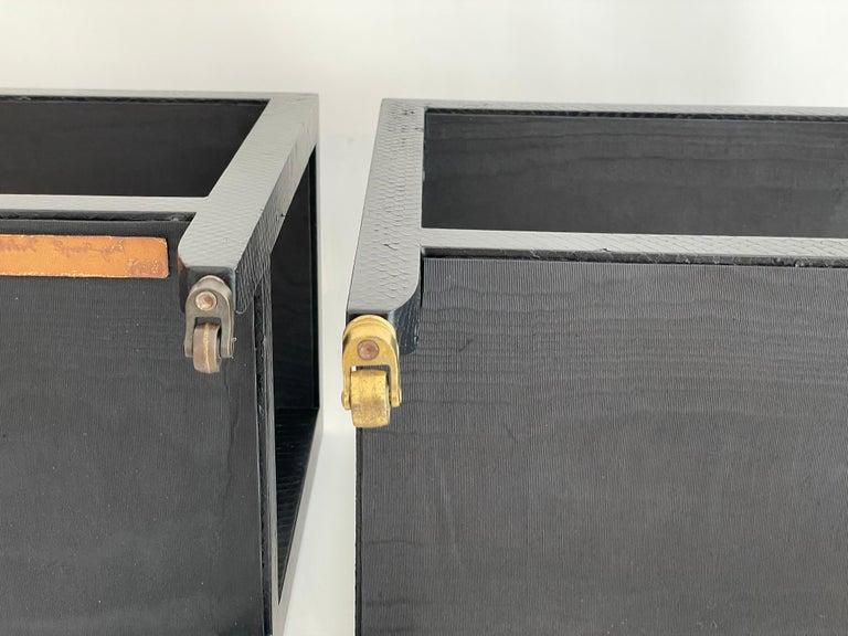 Leather Set of 2 Black Sprayed Snakeskin Karl Springer Small Side Table For Sale