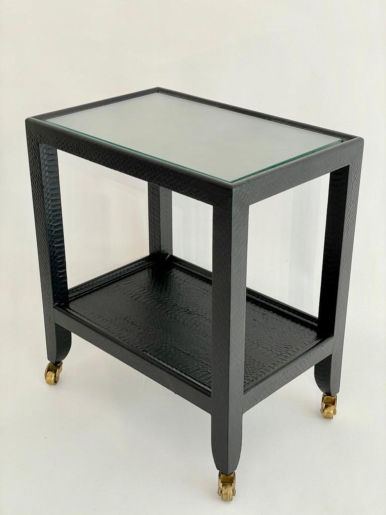 Set of 2 Black Sprayed Snakeskin Karl Springer Small Side Table For Sale 1