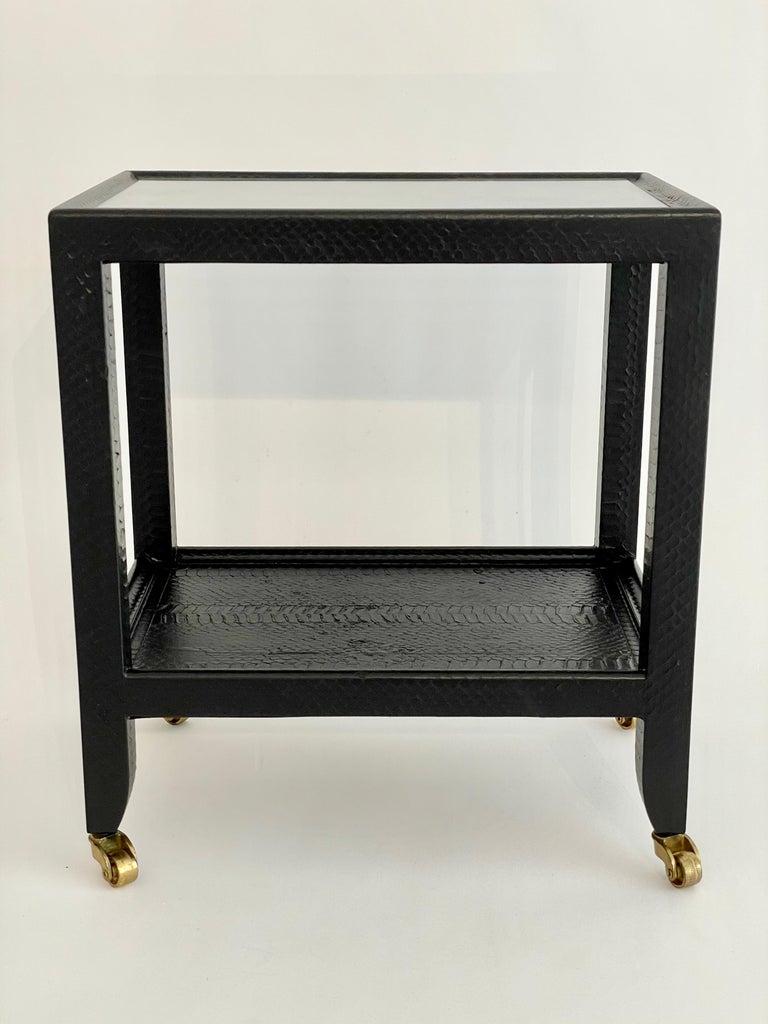 Set of 2 Black Sprayed Snakeskin Karl Springer Small Side Table For Sale 2