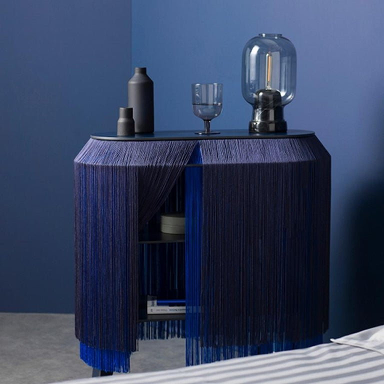 Modern Set of 2 Blue Fringe Side Table / Nightstand, Made in France For Sale