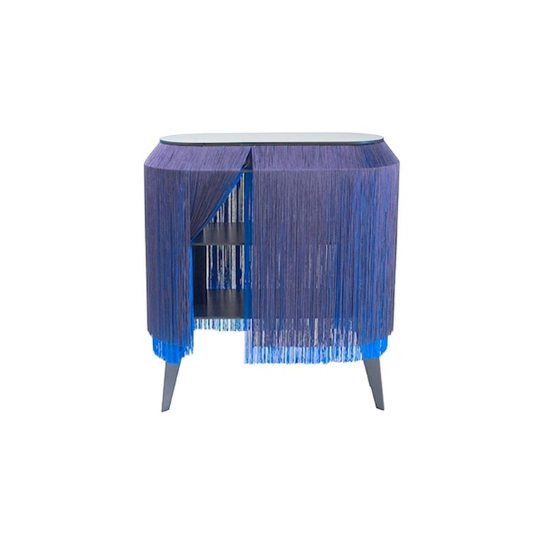 Wood Set of 2 Blue Fringe Side Table / Nightstand, Made in France For Sale