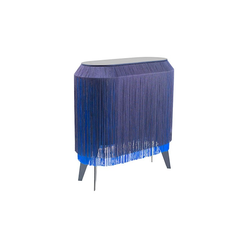 Set of 2 Blue Fringe Side Table / Nightstand, Made in France For Sale 3